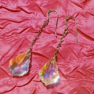 Long Aurora Borealis Crystal Drop Pierced Earrings